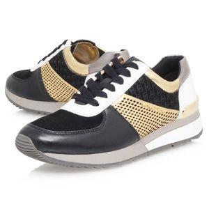MICHAEL KORS | Allie Metallic Gold & Black Sneaker